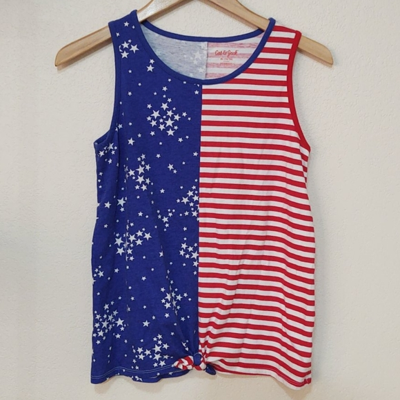 5/$20 cat and jack american flag tank top